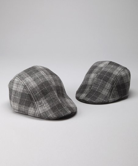 Milly & Max Gray Plaid Father & Son Driving Cap Set