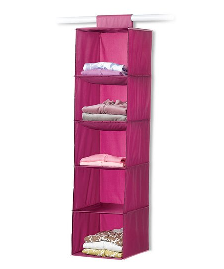 Raspberry & Light Pink Five-Shelf Hanging Organizer