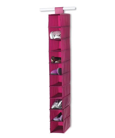 Raspberry & Light Pink 10-Shelf Hanging Organizer