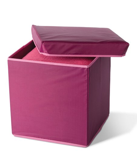 Raspberry & Light Pink Collapsible Storage Ottoman