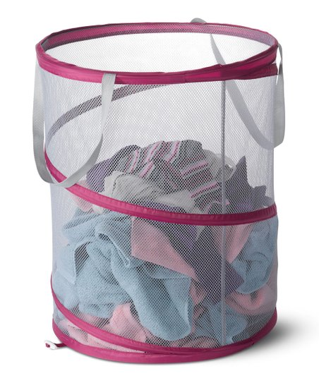 Raspberry & Light Pink Mesh Spiral Laundry Hamper