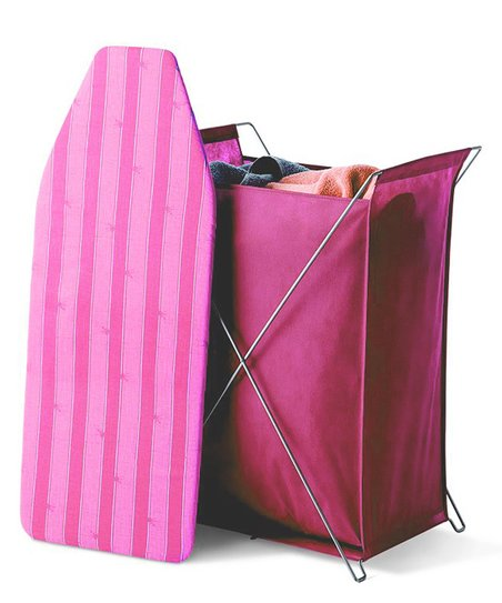 Raspberry Stripe Laundry Hamper & Ironing Board