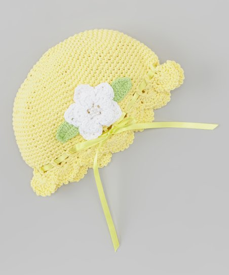 Yellow & White Pearl Flower Crocheted Beanie