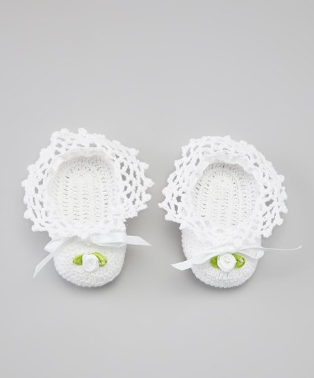 White Flower Bow Crocheted Bootie