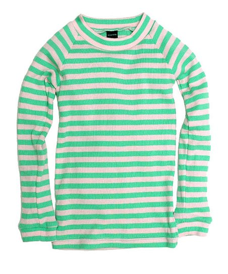 Soft Pink &amp; Bleach Green Stripe Tee - Toddler &amp; Kids