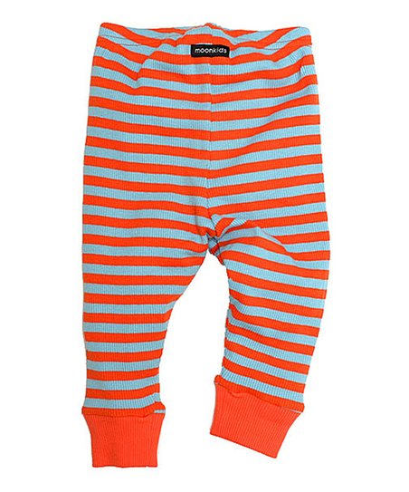 Ice Blue & Pale Orange Stripe Leggings - Infant