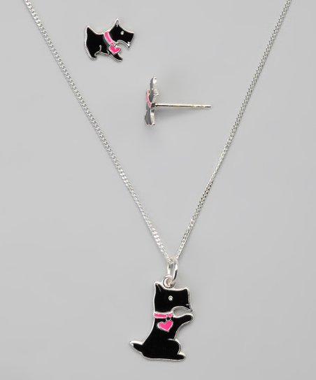 Black Scottie Dog Pendant Necklace & Earrings