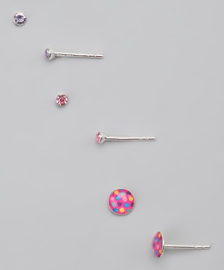 Pink &amp; Purple Polka Dot Earrings Set