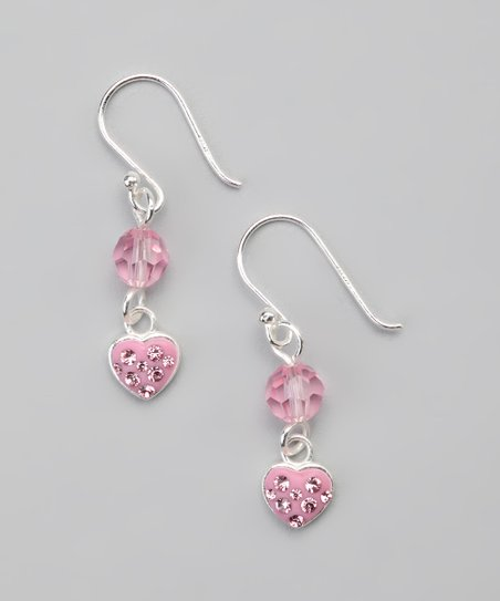 Pink Pav Crystal Heart Earrings