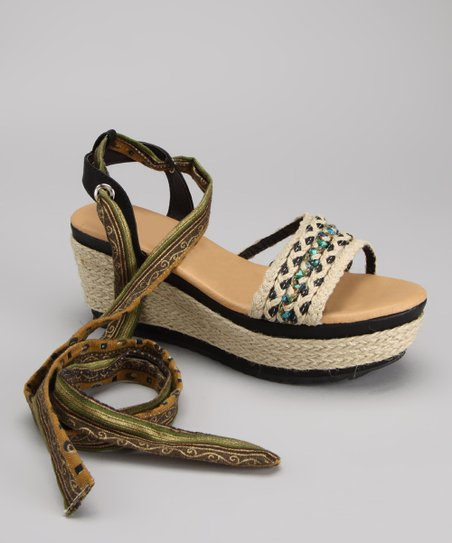 Tan Happy Tie Wedge Sandal