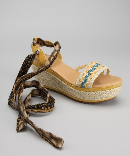 Yellow Happy Tie Wedge Sandal