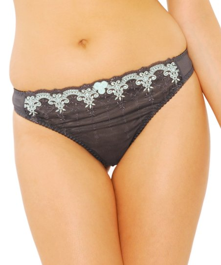 Charcoal & Seafoam Romance Thong - Women & Plus