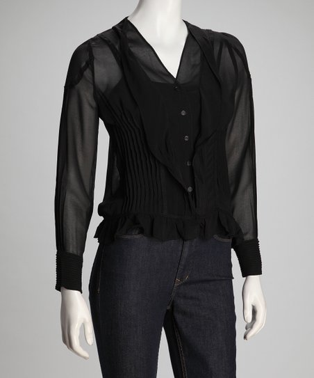 Black Ruffle Button-Up Top