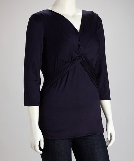 Eggplant Knot Surplice Top - Plus