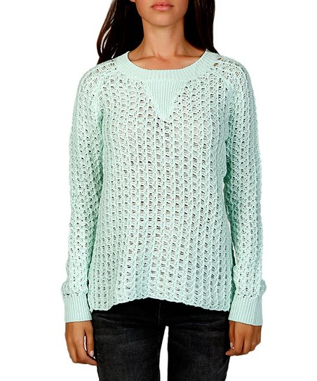 Mint Loose Knit Crew Neck Sweater