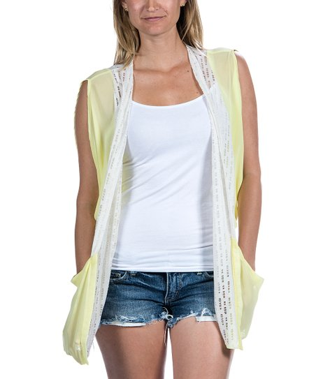 Natural Two-Tone Sleeveless Open Cardigan