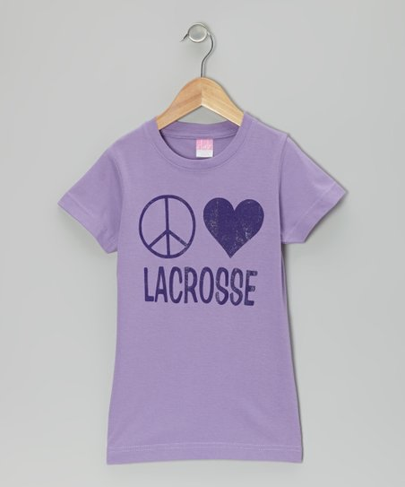 Lavender 'Peace Love Lacrosse' Tee - Girls