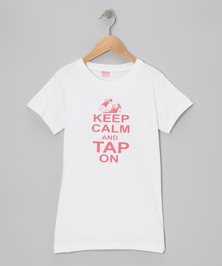 White 'Tap On' Tee - Girls