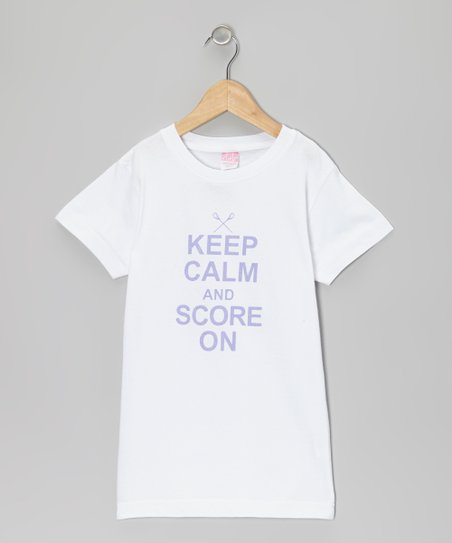 White 'Keep Calm and Score On' Tee - Girls