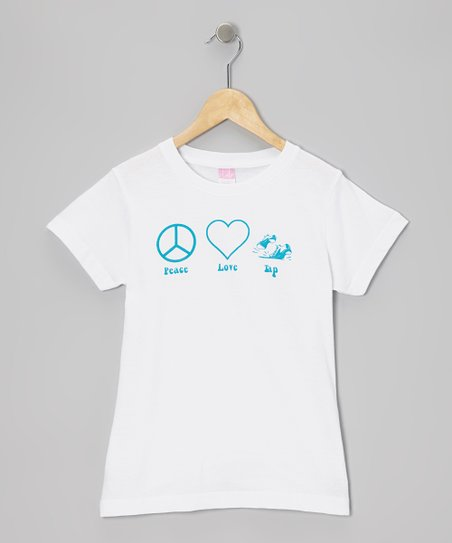 White 'Peace Love Tap' Tee - Girls