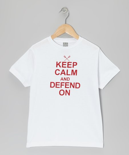 White 'Keep Calm and Defend On' Tee - Boys & Men