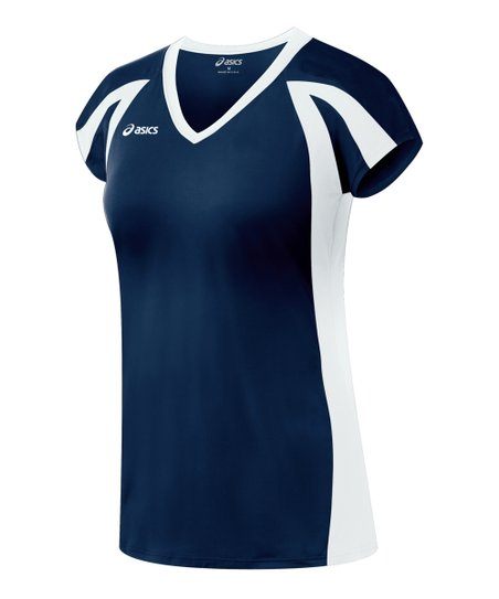 Navy & White Domain Jersey Top - Women