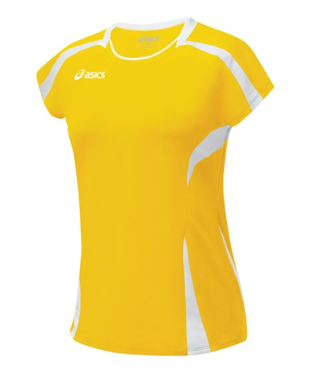 Gold & White Blocker Jersey Top - Women