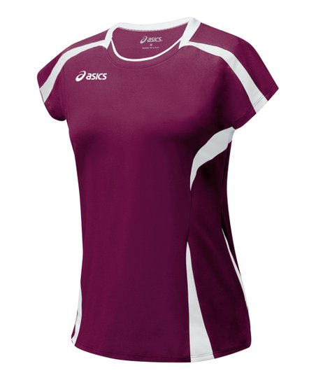 Maroon & White Blocker Jersey Top - Women