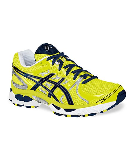 Neon Yellow & Navy Gel-Nimbus 14 GS Running Shoe - Kids