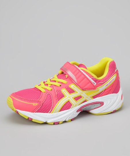 Hot Pink & Sun Yellow Pre Excite PS Running Shoe - Girls