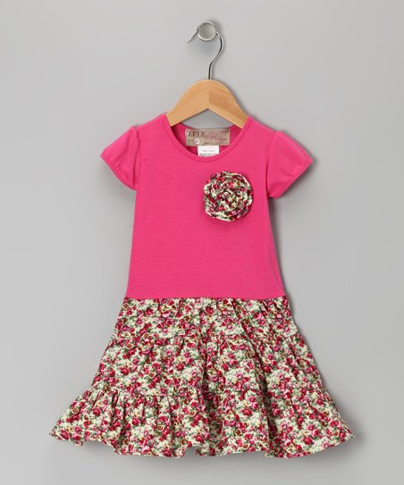 Hot Pink Floral Rosette Dress - Toddler & Girls