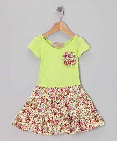 Lime Swing Dress & Brooch - Toddler & Girls