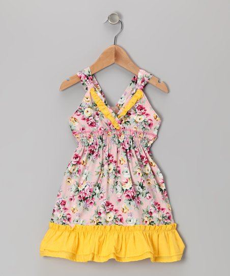 Yellow & Pink Floral Ruffle V-Neck Dress - Toddler & Girls