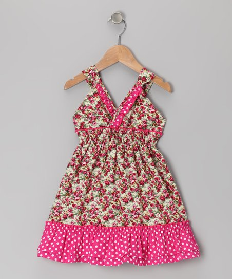 Pink Polka Dot Floral Ruffle V-Neck Dress - Toddler & Girls
