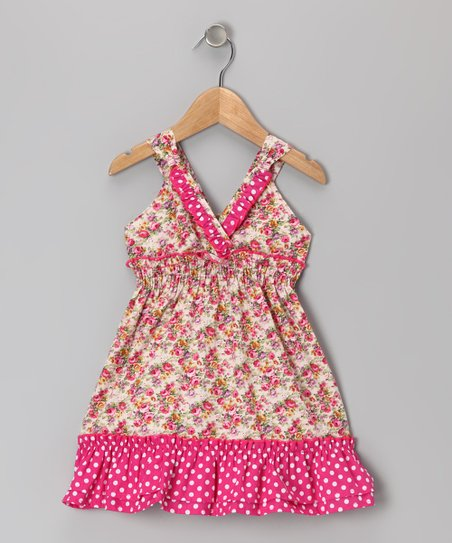 Pink & Cream Floral Ruffle V-Neck Dress - Toddler & Girls