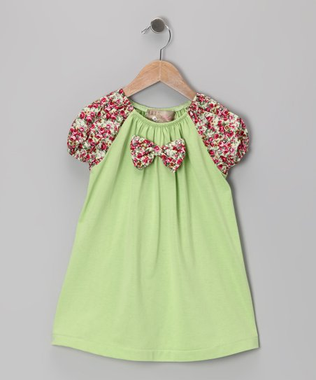 Lime & Pink Floral Bow Tie Dress - Toddler & Girls