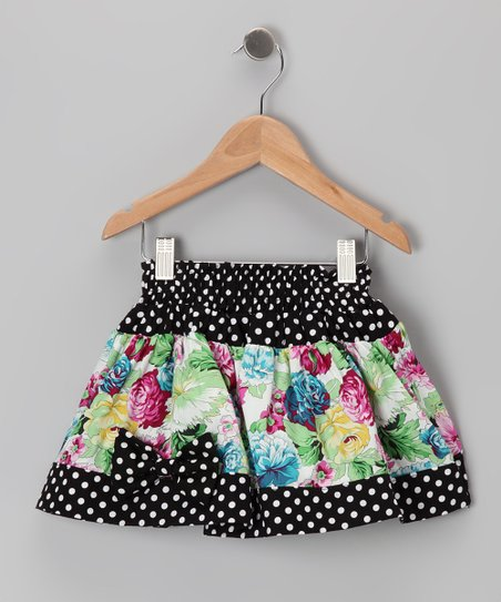 Black Polka Dot Floral Skirt - Toddler & Girls