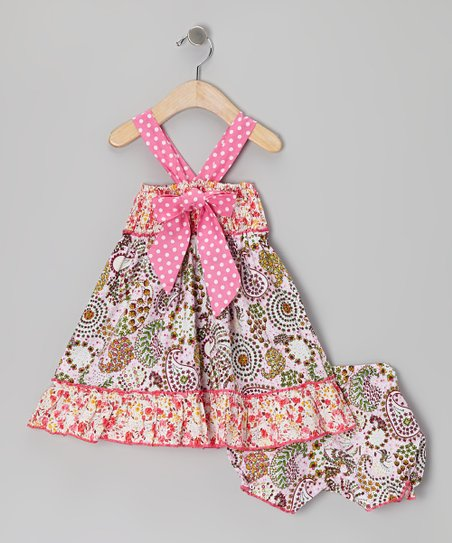 Pink Polka Dot Bow Dress & Bloomers - Infant