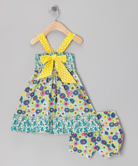 Yellow Polka Dot Bow Dress & Bloomers - Infant