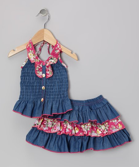 Pink Denim Floral Halter Top & Skirt - Toddler & Girls