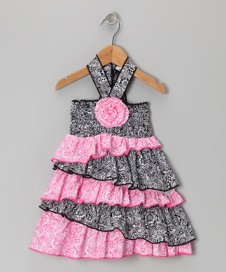 Black & Pink Paisley Halter Dress - Infant