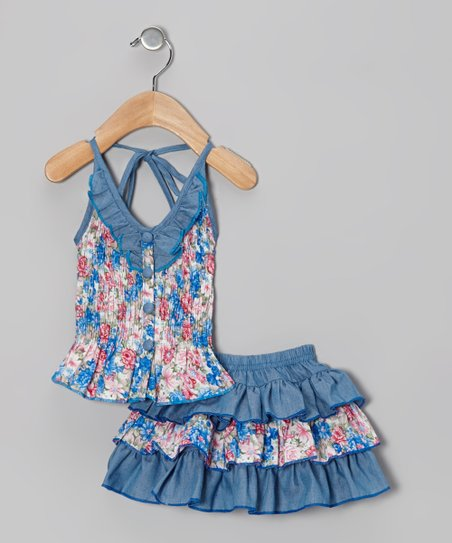 Blue Floral Halter Top & Skirt - Toddler & Girls