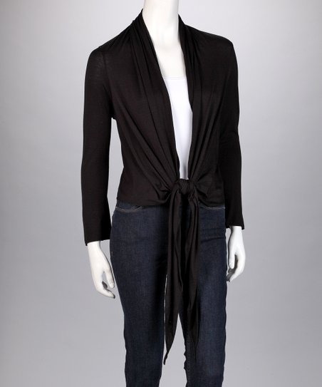 Black Tie-Front Cardigan - Women & Plus
