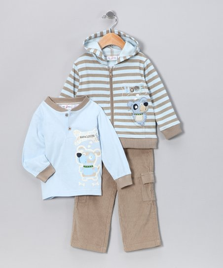 Khaki Stripe 'Woof' Pants Set