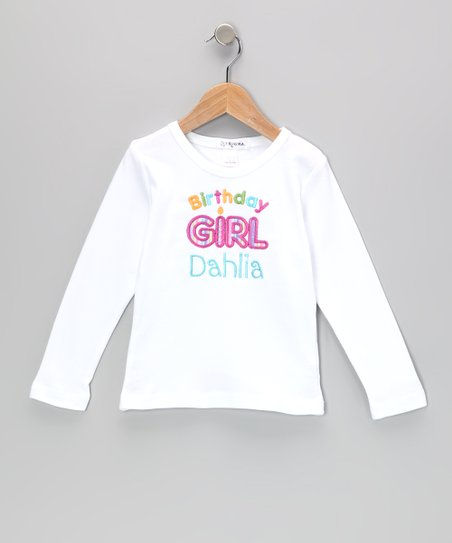 White 'Birthday Girl' Personalized Tee - Infant, Toddler & Girls