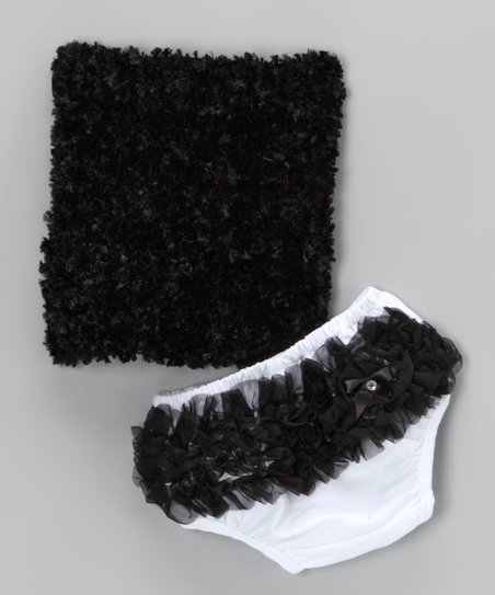 Black Ruffle Tube Top & Diaper Cover