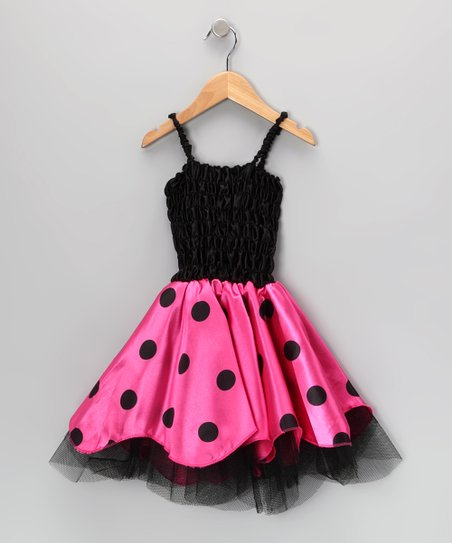 Black & Pink Tulle Trim Dress - Toddler & Girls