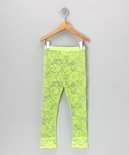 Lime Lace Leggings - Toddler & Girls