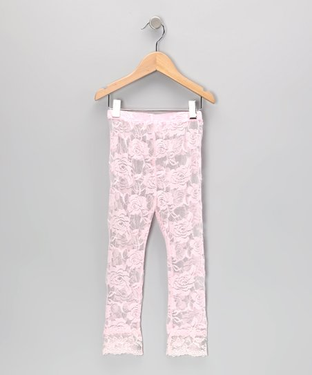 Light Pink Lace Leggings - Toddler & Girls