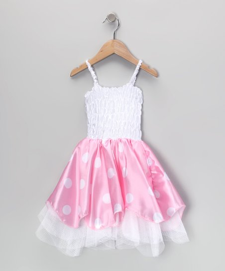 White & Pink Tulle Trim Dress - Toddler & Girls